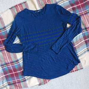 Vince Pima cotton blue and gray striped knit top
